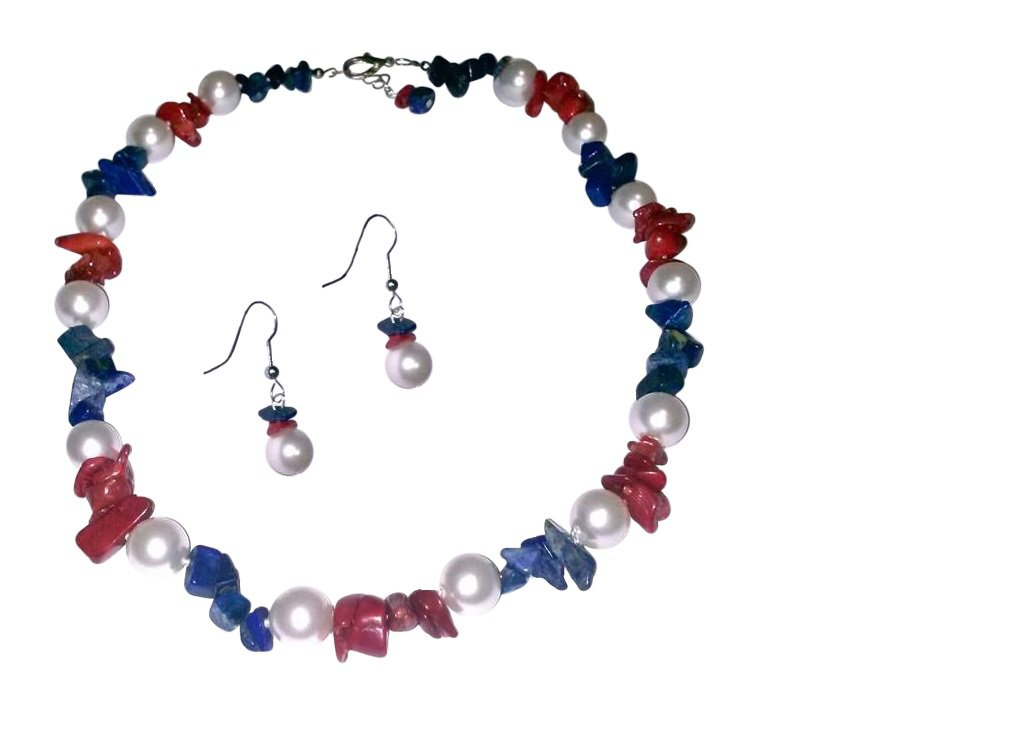 Patriotic Red, White and BLue Necklace and Earrings Set