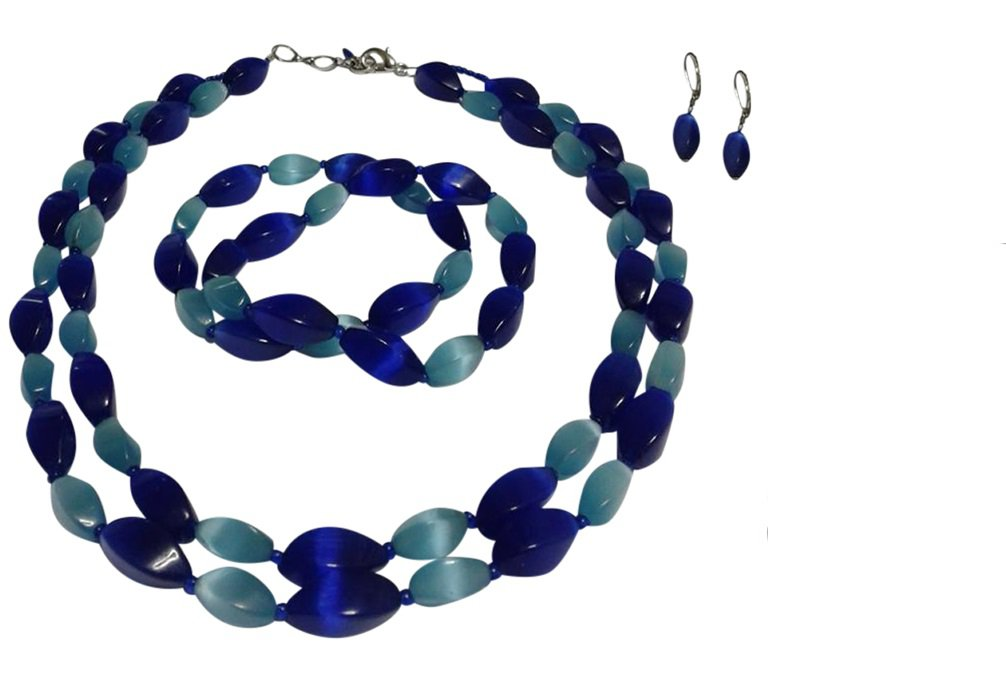 Cat's Eye Blue Two Strand Necklace, Bracelets, Earrings Se