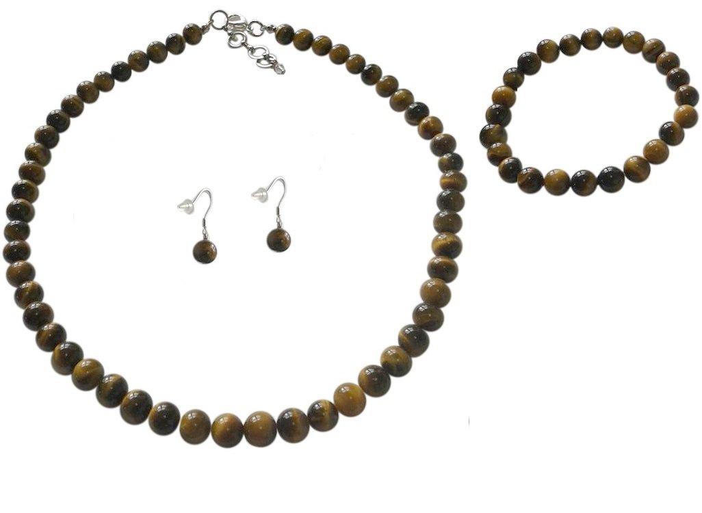 8mm Tiger Eye Brown Necklace, Bracelet and Earrings Set