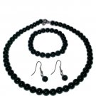 Black Onyx Necklace, Bracelet and Earrings Set