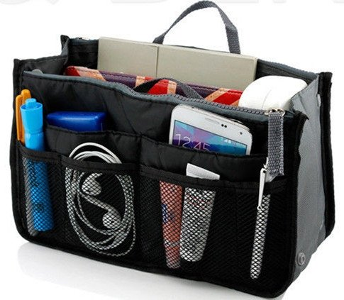 Black Makeup Organizer Bag Men Casual Travel Bag Women Cosmetic Bags Storage Bag in Bag