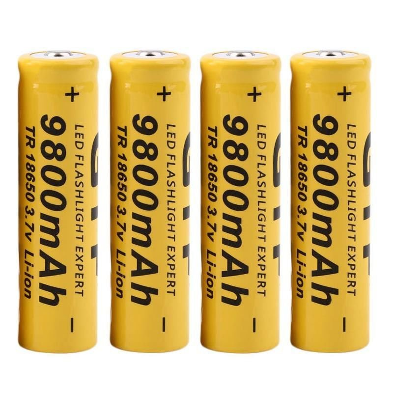 4Pcs 3.7V 9800mAh 18650 Li-ion Rechargeable Batteries For Flashlight