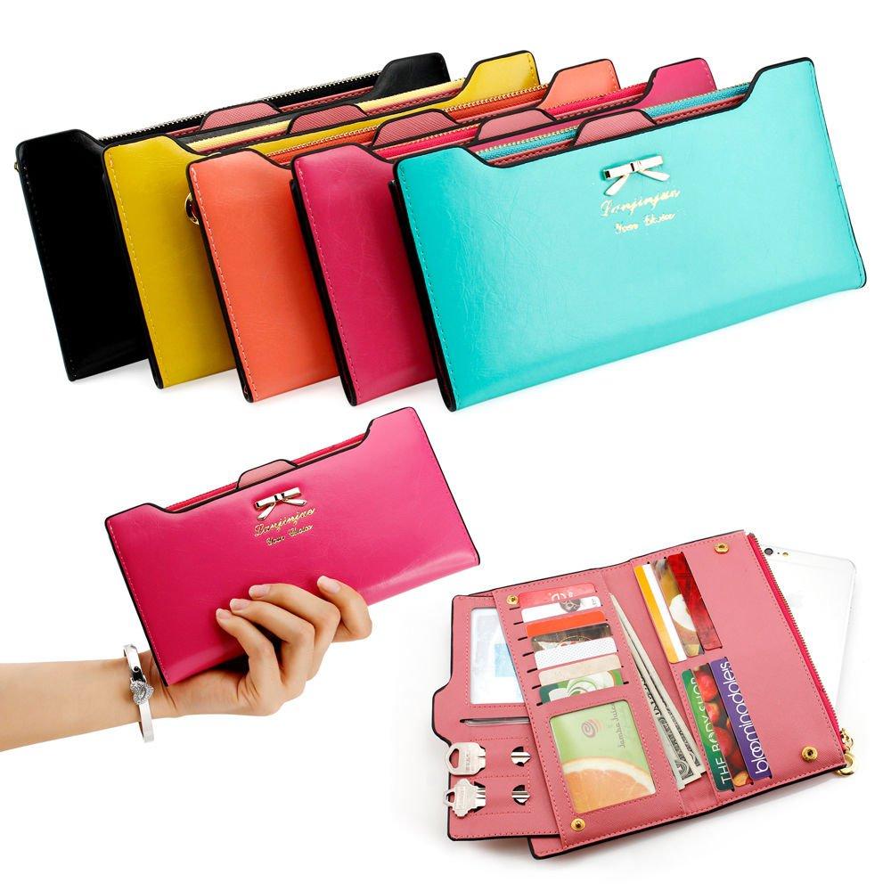 Fashion Womens Leather Clutch Wallets Long Card Holder Female Coin Purse Handbag