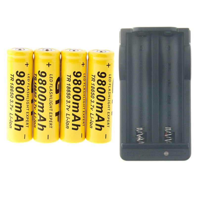 4Pcs 18650 Li-ion Rechargeable Batteries 3.7V 9800mAh + Smart 18650 Charger