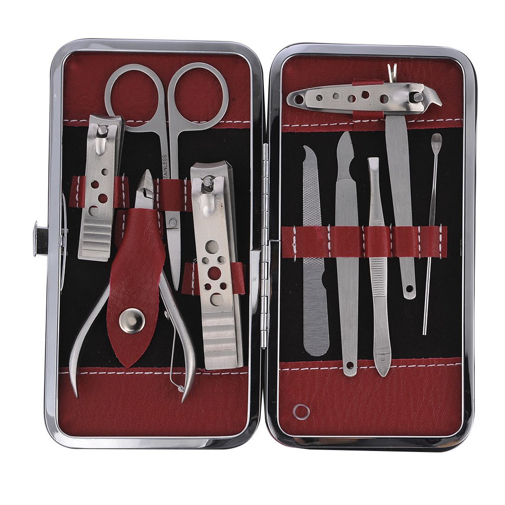 Manicure / Pedicure Set Ear Pick Nail Clipper Cleaner Cuticle Grooming Kit Case 10 in 1