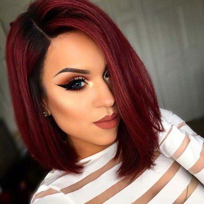 Straight Bob Wig Synthetic Ombre Wine Red Middle Part Bobo Wigs for Black Women