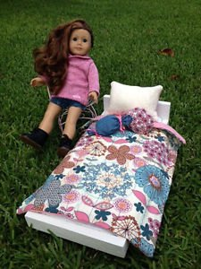 "Fun and Happy American Girl Doll Or 18"" Doll 4 Piece Bedding Set Handmade"