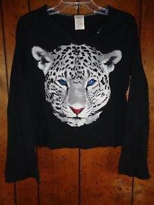 Fiorlini International White Leapord Black Long Sleeve Medium Shirt M