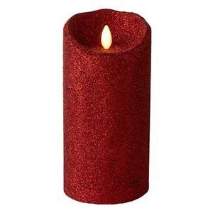 "Luminara® Flameless Candle - 3.5"" Dia. Glitter Pillar - Red Unscented 7"""
