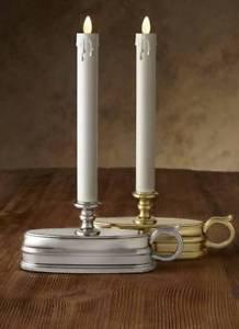 "Luminara® Flameless Candle - 1.5"" Dia. Window Lamp - Gold or Nickel Unscented"