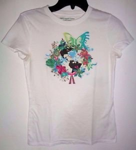 100% Organic Cotton White T-shirt Juniors Short Sleeve Shirt 52469 Medium