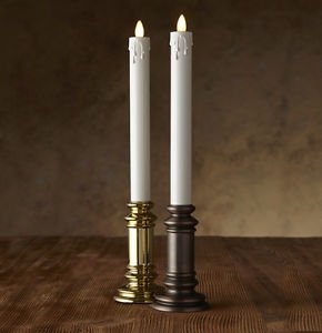 "Luminara® Flameless Candle - 1.5"" Diameter Window Taper - Gold or Onyx Unscented"
