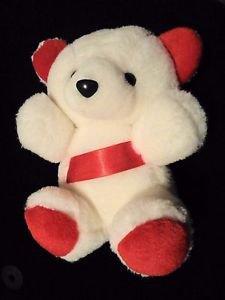 "CUTE!! 8"" Red White Plush Bear w/ Red Ribbon Stuffed"