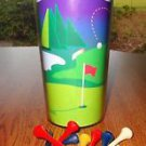 Insulated Plastic Golf Travel Tumbler w/ lid and 15 New Golf Tees Pegs