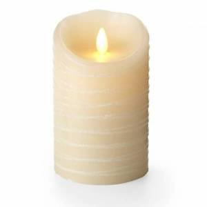 "Luminara Flameless Candle - 5"" Spun Glitter Ribbon Pillar Ivory Unscented"