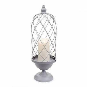 """Luminara® Bird Cage Candle Holder w/ 7"""" Candle - Gray / Ivory - 24 inches"""