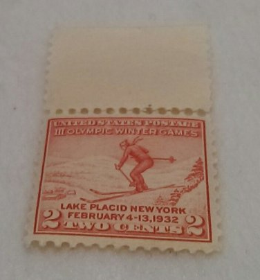 Red Two Cent United States Postage Stamp - Third Olympic Winter Games