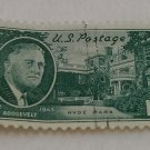 Green One Cent U.S. Postage Roosevelt Stamp, Hyde Park 1882-1945