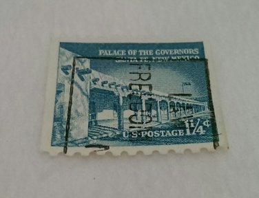 Blue 1 1/4 cent U.S. Postage Stamp Palace of the Govenors Santa Fe, New Mexico