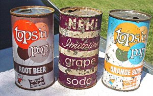 3 dumper flat top soda cans - Nehi and Tops 'n pop