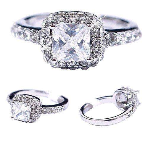 Princess Cut Square Silver Ring Size 7