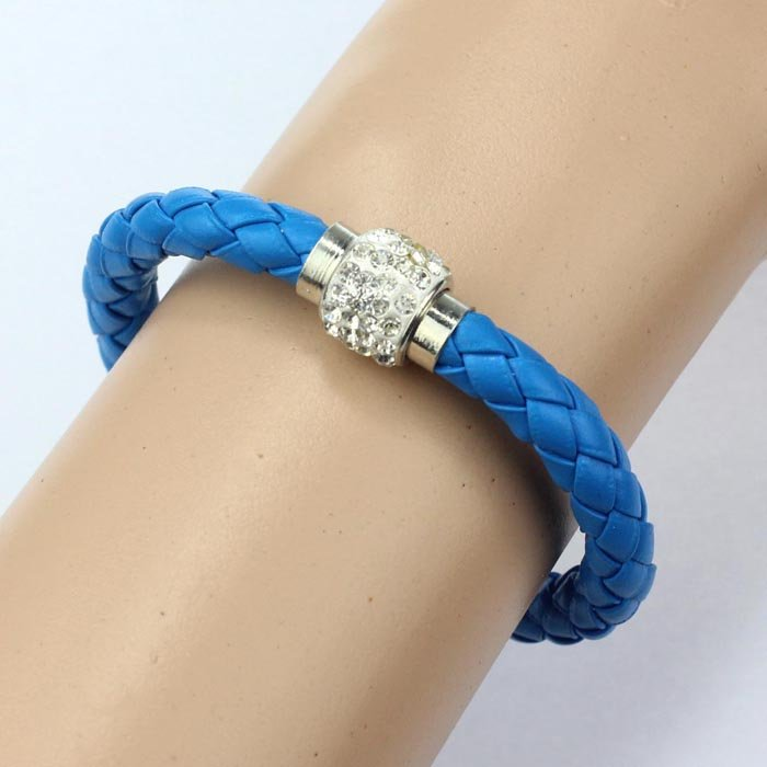 Blue Magnetic Cord Bling Bracelet