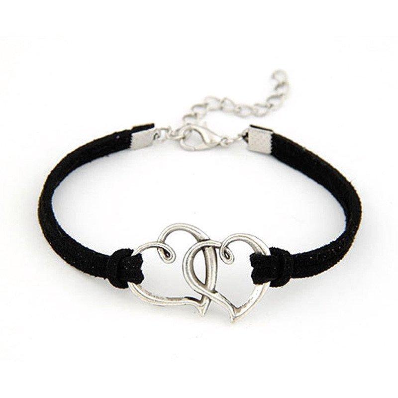 Black Double Heart Strap Bracelet