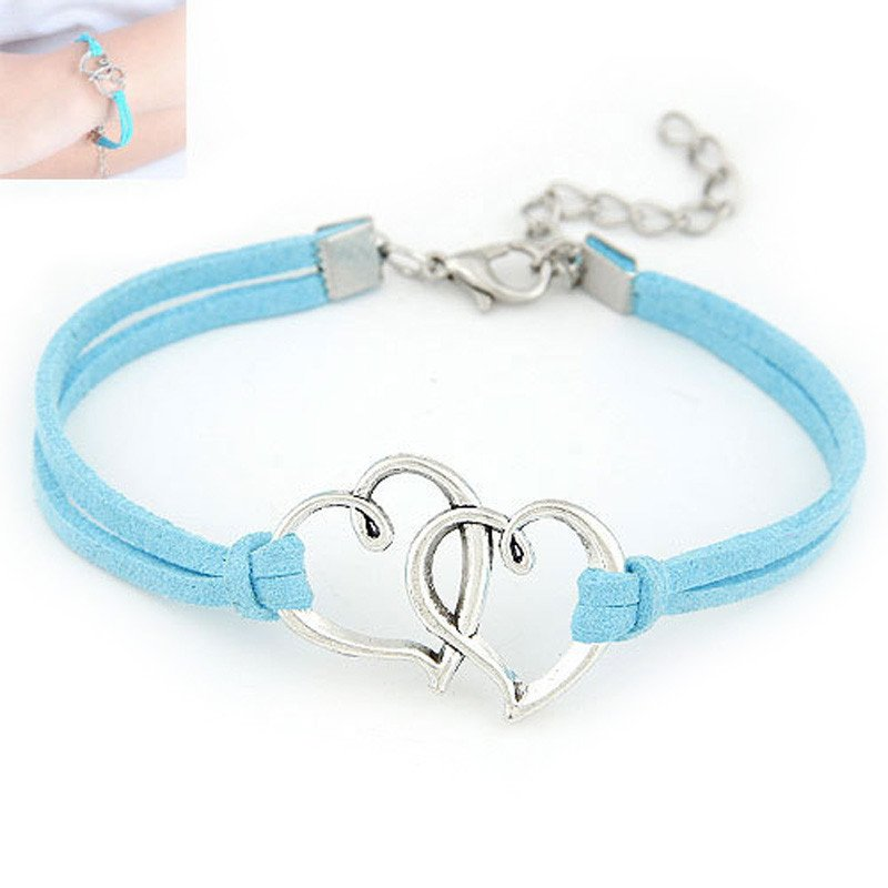 Blue Double Heart Strap Bracelet
