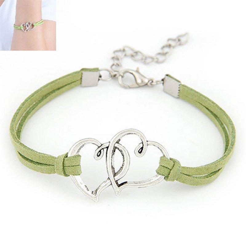Green Double Heart Strap Bracelet