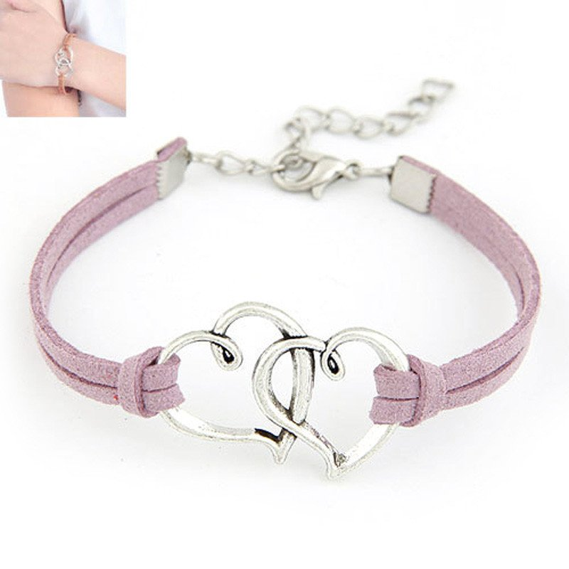 Purple Double Heart Strap Bracelet