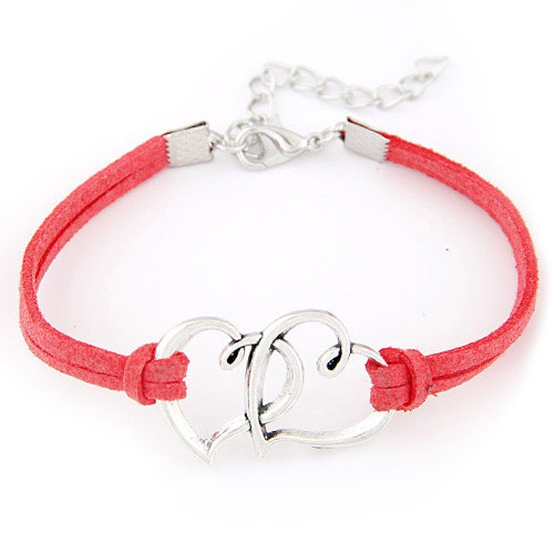 Red Double Heart Strap Bracelet