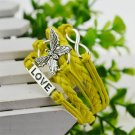 Yellow Infinity Butterfly Love Bracelet