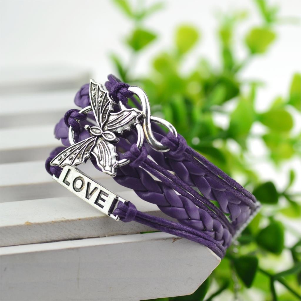 Purple Infinity Butterfly Love Bracelet