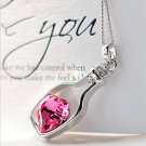 Pink Heart Silver Bottle Necklace