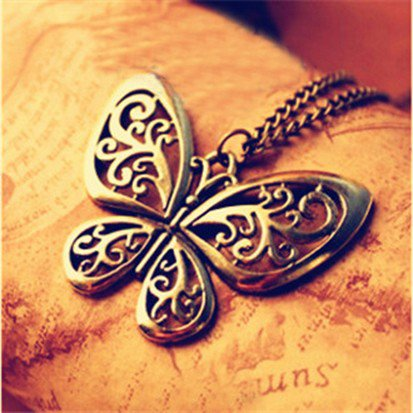 Bronze Large Butterfly Necklace