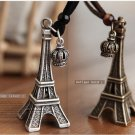 Eiffel Tower Brown Rope Necklace