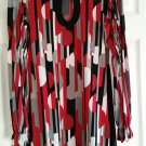 Bisou Bisou Black/red/gray Long Sleeve Dress Size Small.