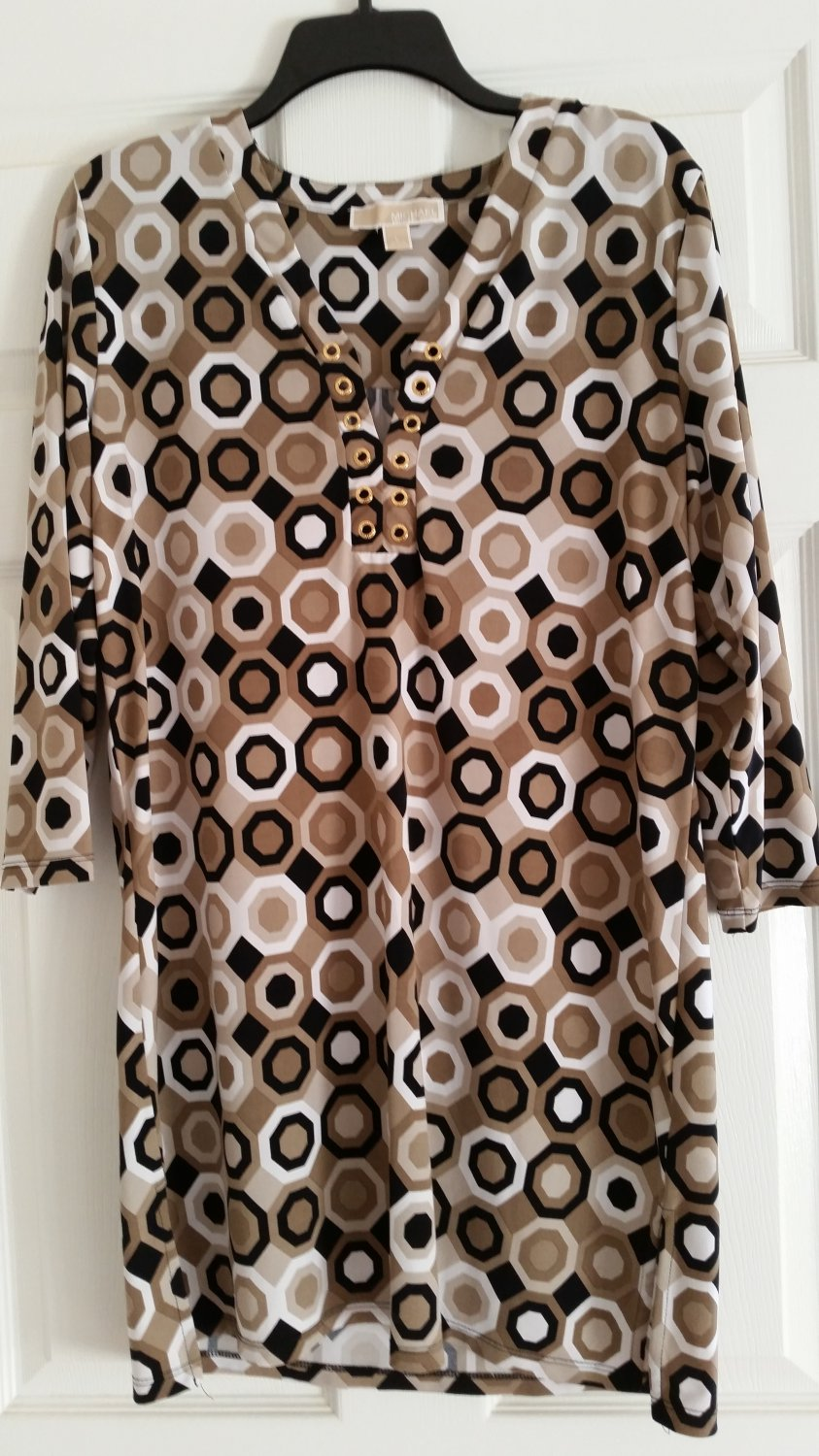 MICHAEL KORS POLYESTER V NECK GROMMET TRIM LOOSE FIT DRESS SIZE LG.