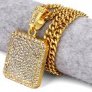Hip Hop Fashion Gold Plated Small Size Crystals Gold Square Pendent Necklace
