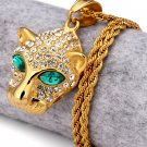 Hip Hop Fashion Steel Small Size Crystals Leopard Pendent Necklace