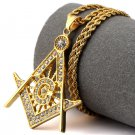 Hip Hop Fashion Steel Small Size Crystals Freemasonry Logo Pendent Necklace