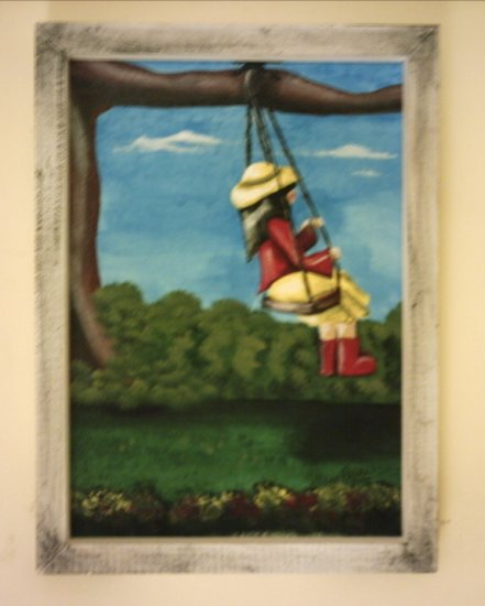 "SWINGING PENNY...  9 x 12"" original painting framed"