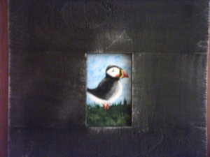 TINY ACEO PUFFIN PAINTING... ORIGINAL