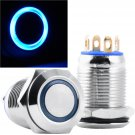 14mm Silver Stainless Steel Momentary Blue Power LED Push Button Switch