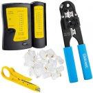 RJ45 Cable Crimper + Tester + RJ45 Connectors CAT5 Networking Network Tool Kit