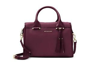 NWT~ MICHAEL KORS GENENVA LARGE PEBBLED LEATHER SATCHEL~PLUM  $378