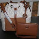 ~MICHAEL Michael Kors Greenwich MD Bucket Crossbody Bag & Wallet (Vanilla)BNWT
