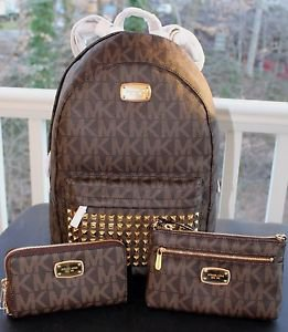 NWT~ Michael Kors Jet Set STUDDED LARGE Backpack PVC/Leather,Wristlet &Wallet