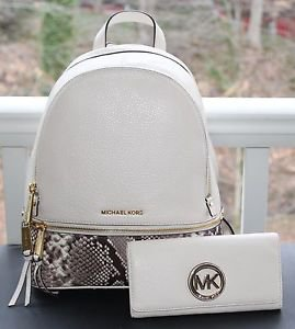 NWT~ Michael Kors Women's Medium Rhea Embossed Zip Backpack & Wallet