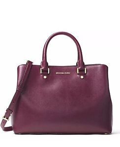 NWT Michael Kors Savannah Large  Patent Leather Satchel Bag~PLUM~ $368